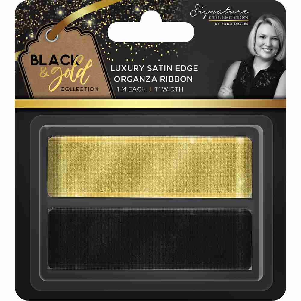 "Crafter's Companion - Black & Gold Collection Luxury Satin Edge Organza Ribbon 1""X1m 2/Pkg"