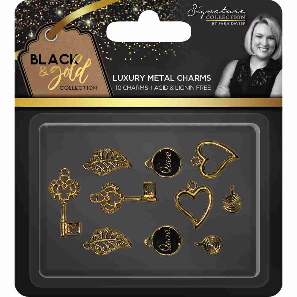 Crafter's Companion - Black & Gold Collection Luxury Metal Charms