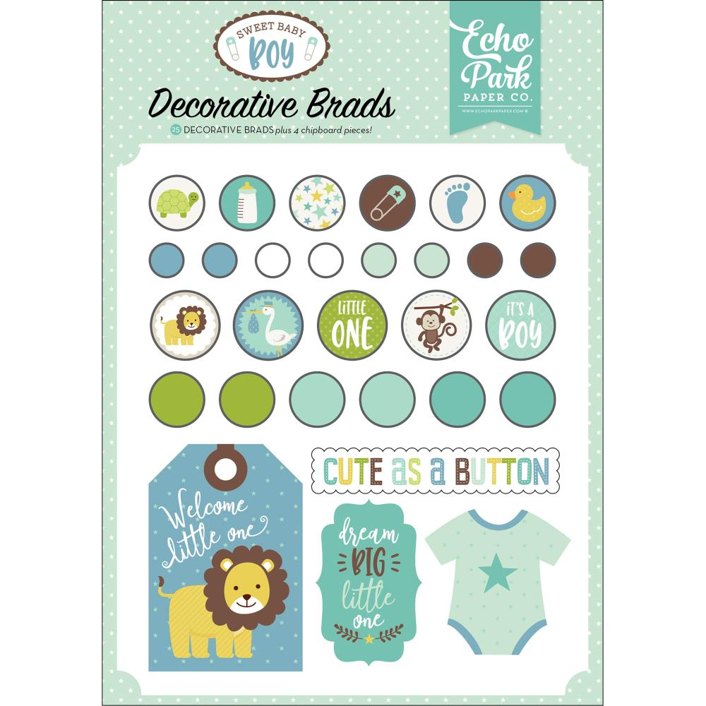 Echo Park - Sweet Baby Boy Decorative Brads Plus 4 - Chipboard Pieces