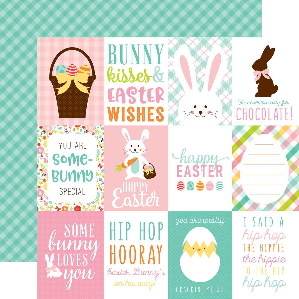 "Echo Park - Hello Easter Double-Sided Cardstock 12""X12"" - 3""X4"" Journaling Cards/Green Plaid"