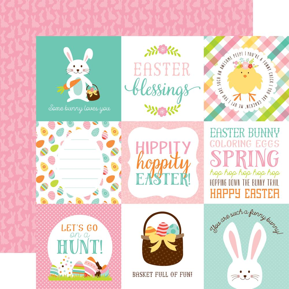 "Echo Park - Hello Easter Double-Sided Cardstock 12""X12"" 4""X4"" - Journaling Cards/Pink Bunny Print"