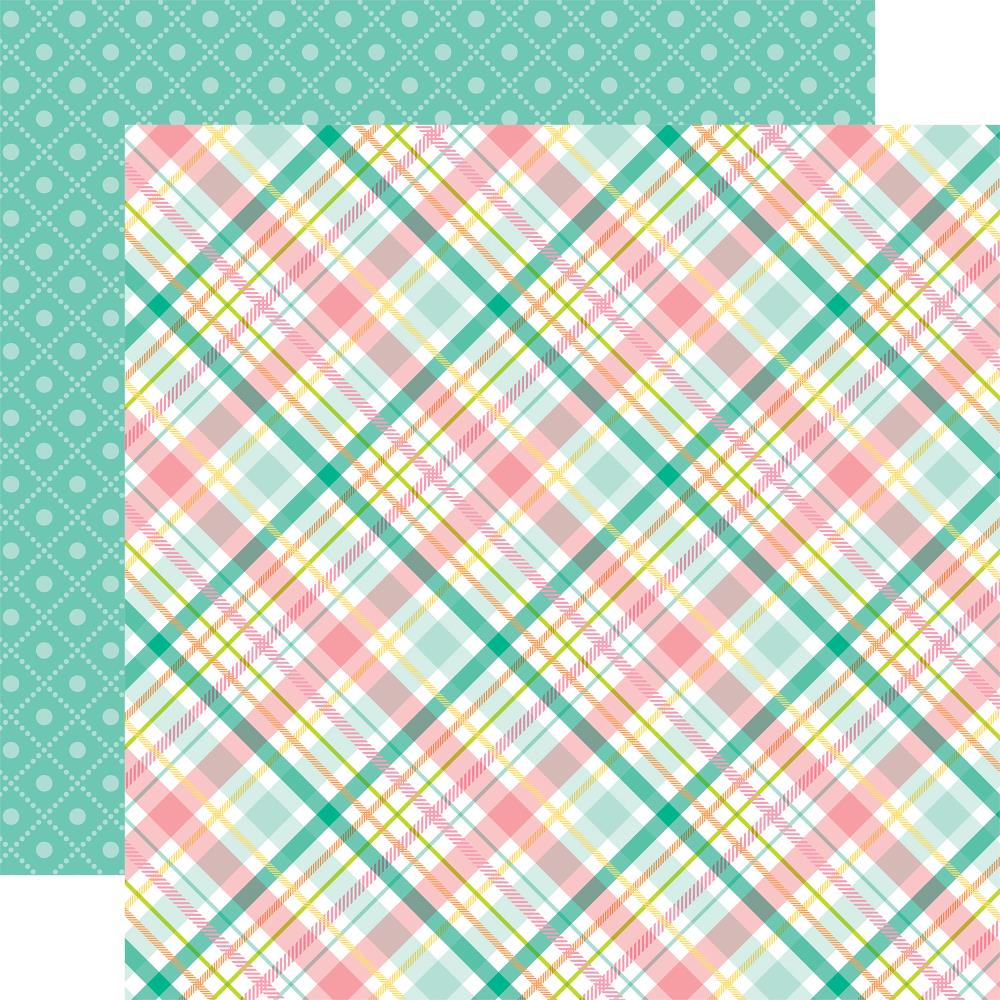 "Echo Park - Hello Easter Double-Sided Cardstock 12""X12"" - Green, Pink & Yellow Plaid/Green Boxes"