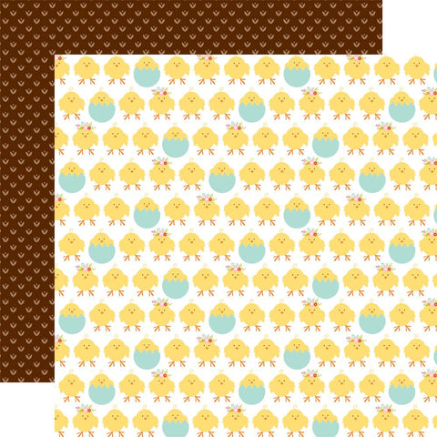 "Echo Park - Hello Easter Double-Sided Cardstock 12""X12"" - Chicks/Brown Dots"