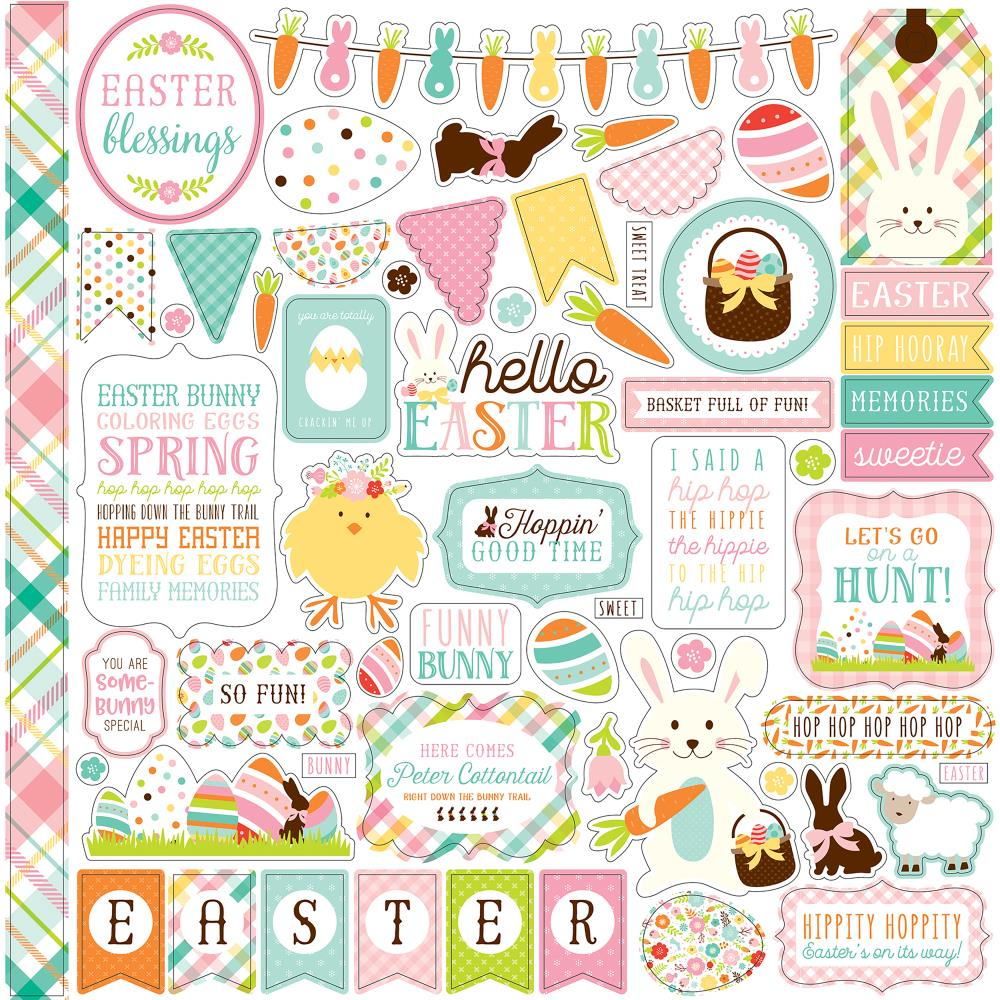 "Echo Park - Hello Easter Cardstock Stickers 12""X12"" - Elements"