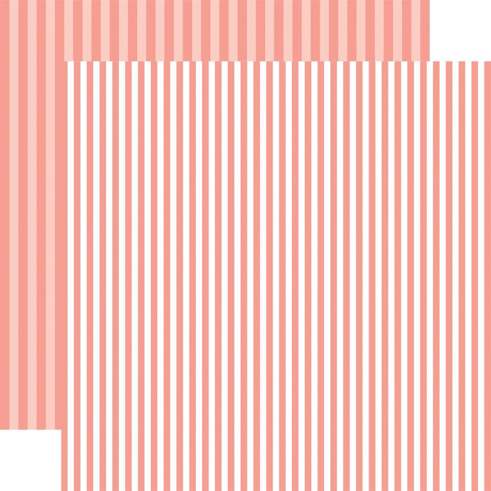 "Echo Park - Summer Dot/Stripe Double-Sided Cardstock 12"" - Coral Reef Stripe"