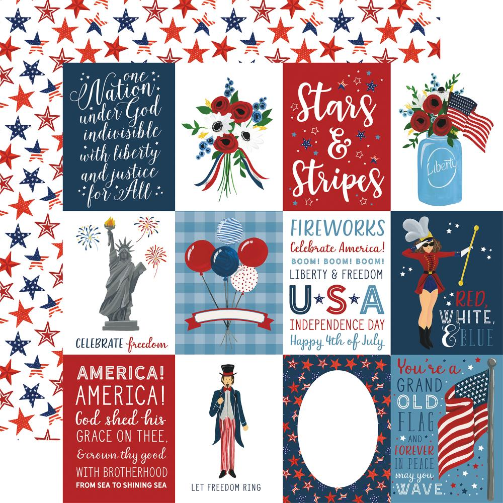 "Echo Park - Celebrate America Double-Sided Cardstock 12""X12"" 3""X4"" - Journaling Cards"