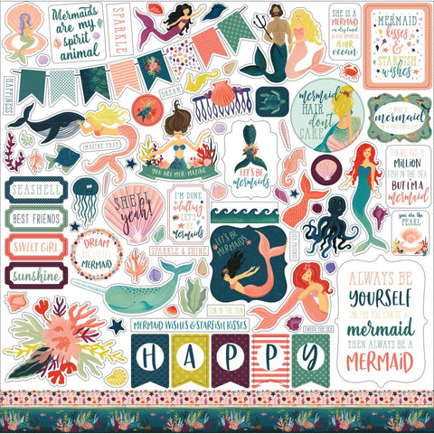 "(Pre Order - Mid April) Echo Park - Mermaid Tales Cardstock Stickers 12""X12"" - Elements"