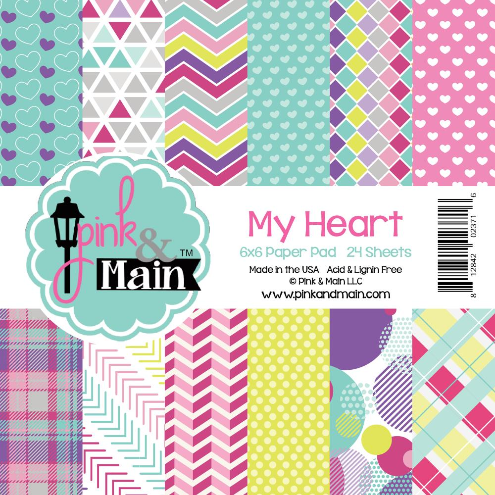 "Pink And Main Double-Sided Paper Pad 6""X6"" 24/Pkg - My Heart"
