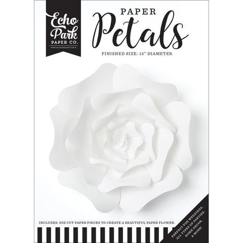 (Pre Order - Mid March) Echo Park Paper Petals - Large White Rose. 25pcs