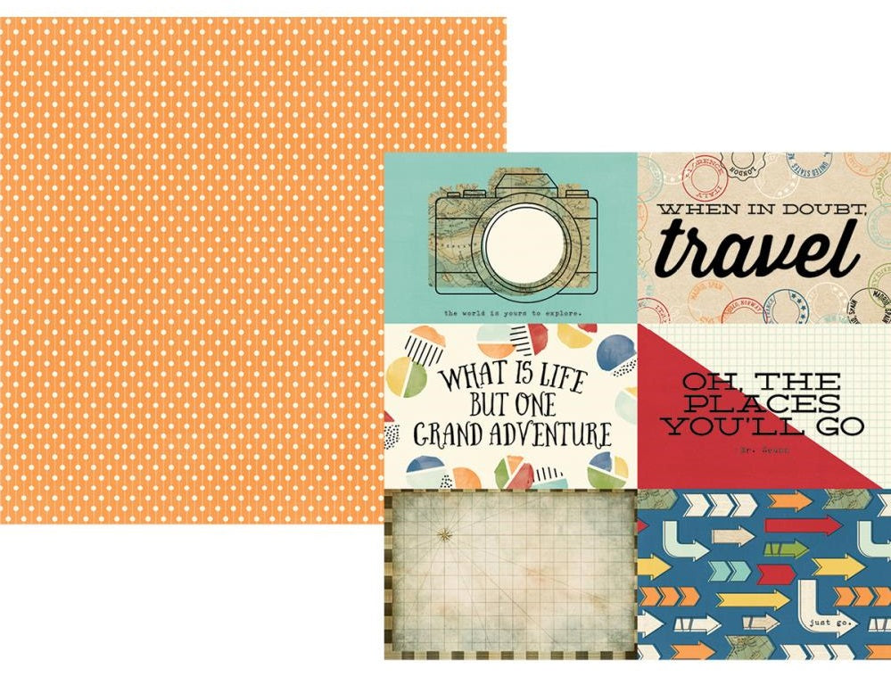 "Simple Stories - Travel Notes 12"" x 12"" Double-Sided Cardstock - 4""X6"" Horizontal Elements"