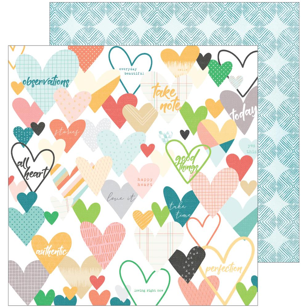 "Pinkfresh Studio - Let You Heart Decide Double-Sided Cardstock 12""X12"" - Caper"