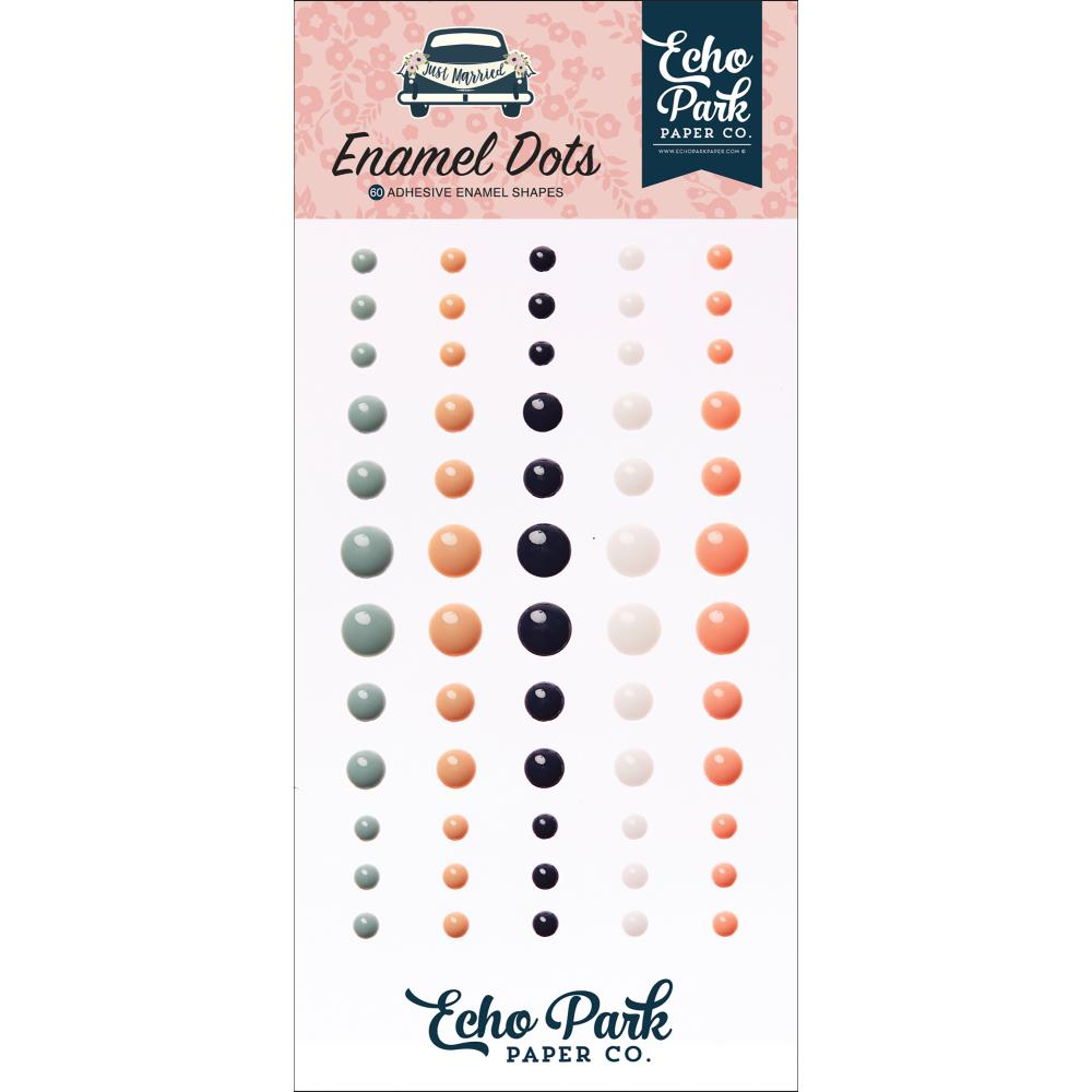 Echo Park - Just Married Adhesive Enamel Dots 60/Pkg