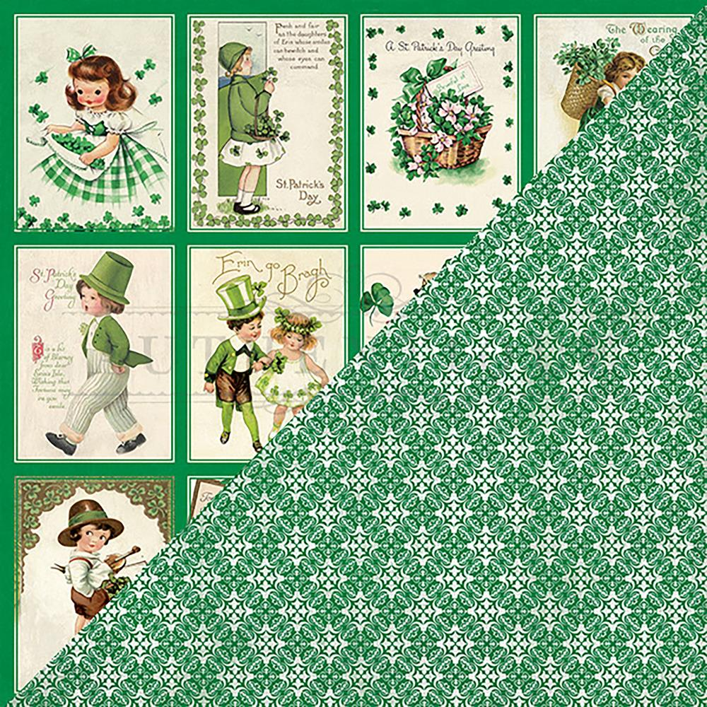 Authentique Paper - Shamrock #6 Collection Double-Sided Cardstock - 3x4 Vintage Greetings