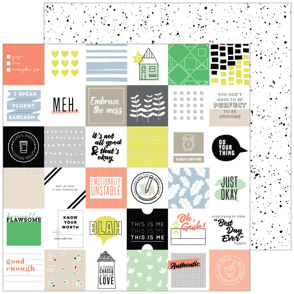"Pinkfresh Studio - A Case Of The Blahs Double-Sided Cardstock 12""X12 - Messy"