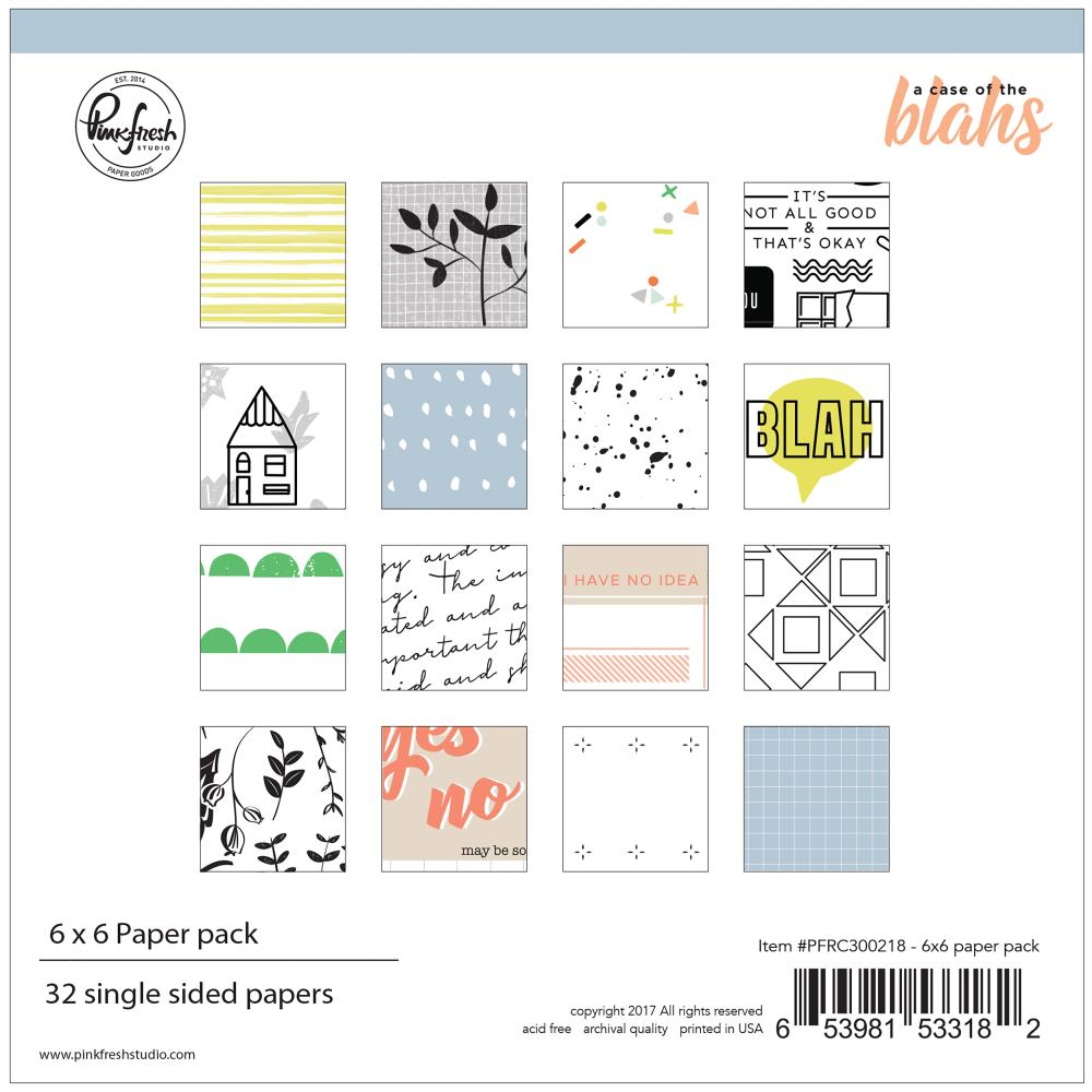 "Pinkfresh Studio - Single-Sided Paper Pack 6""X6"" 32/Pkg - A Case Of The Blahs, 16 Designs/2 Each"