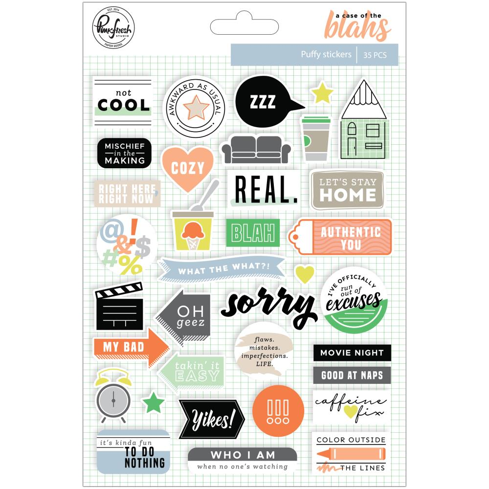 "Pinkfresh Studio - A Case Of The Blahs Puffy Stickers 6""X8"" - 35/Pkg"