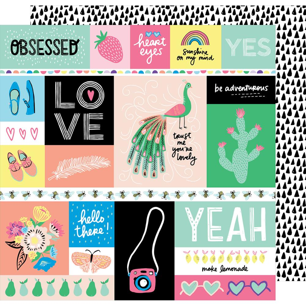 "American Crafts - Amy Tan Sunshine & Good Times Double-Sided Cardstock 12""X12"" - Officially Obsessed Cut-Outs"