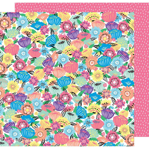 "American Crafts - Amy Tan Sunshine & Good Times Double-Sided Cardstock 12""X12"" - Flower Power"