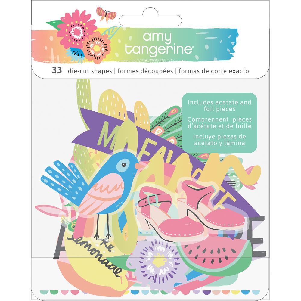 American Crafts - Amy Tan Sunshine & Good Times Ephemera Die-Cuts 33/Pkg-  Cardstock & Acetate Icons W/Foil