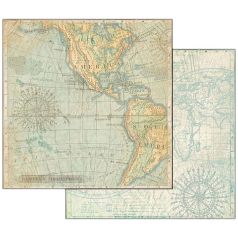 "Stamperia - Double-Sided Cardstock 12""X12"" -Map"