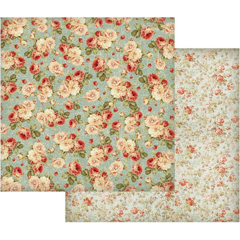 "Stamperia - Double-Sided Cardstock 12""X12"" - Floral Wallpaper On Turquoise Background"