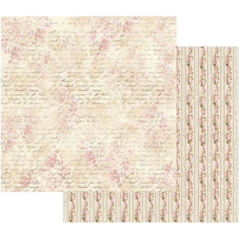 "Stamperia - Double-Sided Cardstock 12""X12"" - Pink Buttercup With Writing"