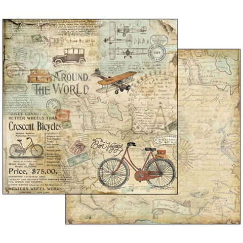 "Stamperia - Double-Sided Cardstock 12""X12"" - Around The World Bike Tour"