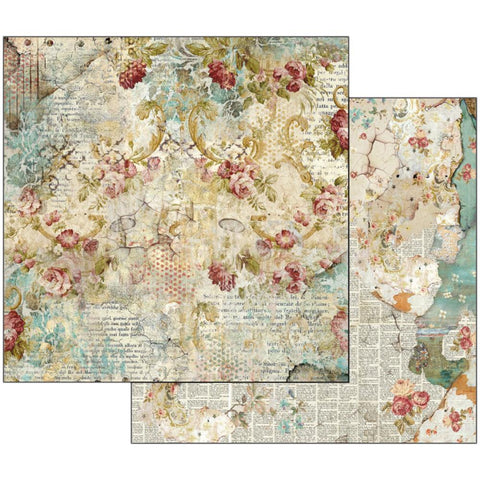 "Stamperia - Double-Sided Cardstock 12""X12""- Time Is An Illusion Floral Texture"