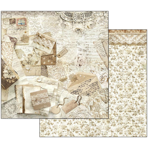 "Stamperia - Double-Sided Cardstock 12""X12"" - Old Lace Cards & Laces"
