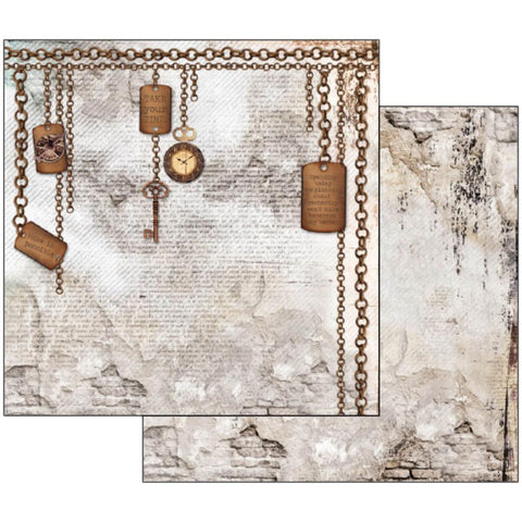 "Stamperia - Double-Sided Cardstock 12""X12"" - Clockwise Chains & Keys"