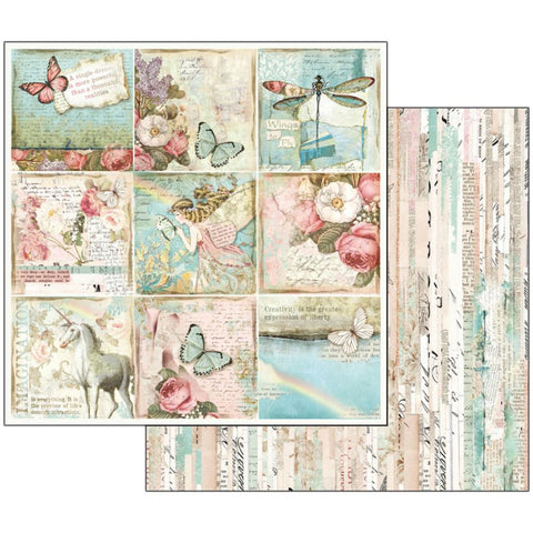 "(Pre-Order) Stamperia - Double-Sided Cardstock 12""X12"" - Wonderland Butterflies & Unicorn Cards"