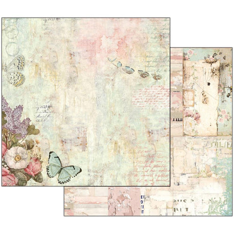 "(Pre-Order) Stamperia - Double-Sided Cardstock 12""X12"" - Wonderland Flowers & Butterflies"