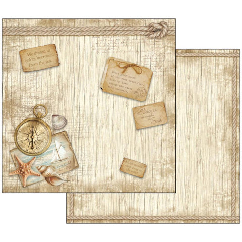 "Stamperia - Double-Sided Cardstock 12""X12"" - Sea Land Compass"