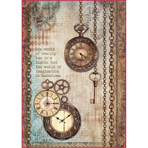 (Pre-Order) Stamperia - Rice Paper Pack A4 -  Clockwise Clock & Keys