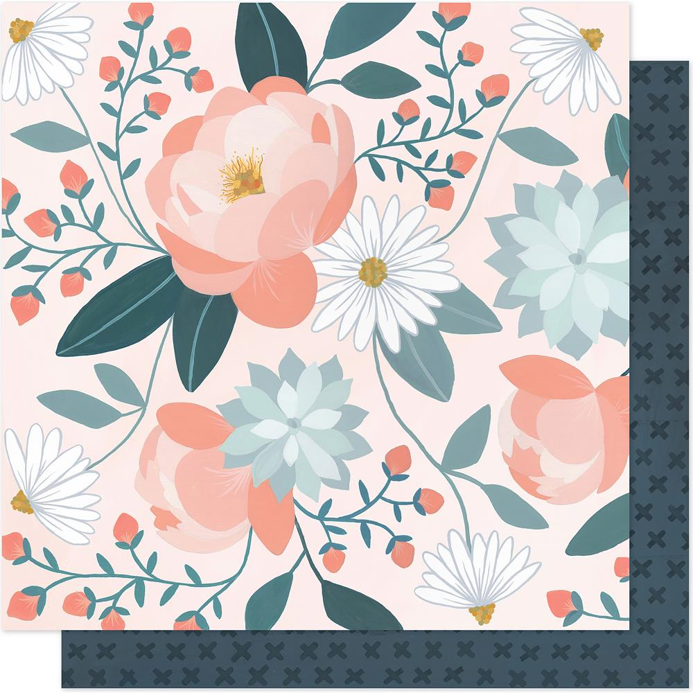 "American Crafts - One Canoe Two Twilight Double-Sided Cardstock 12""X12"" - Peony"