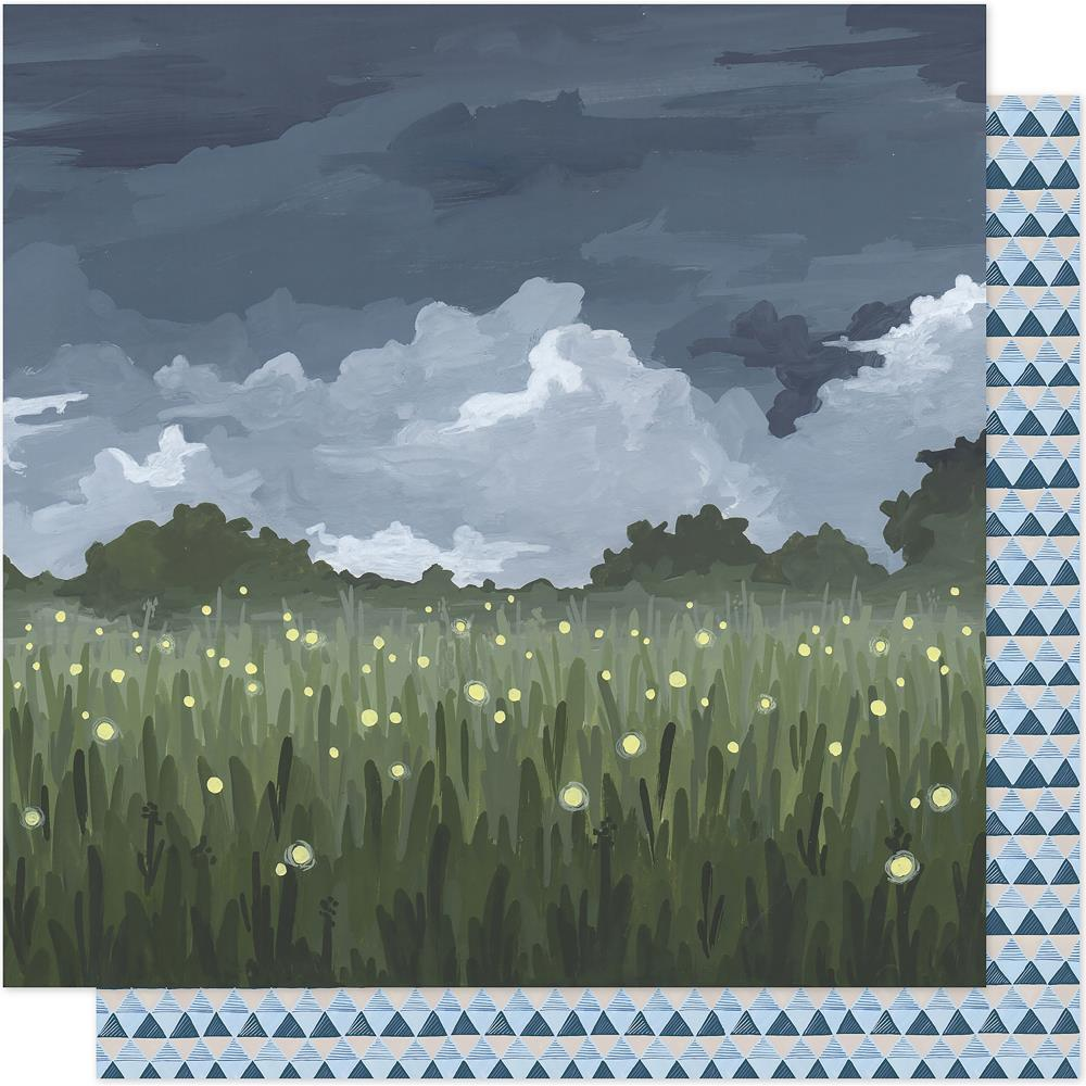 "American Crafts - One Canoe Two Twilight Double-Sided Cardstock 12""X12"" - Fireflies In The Garden"