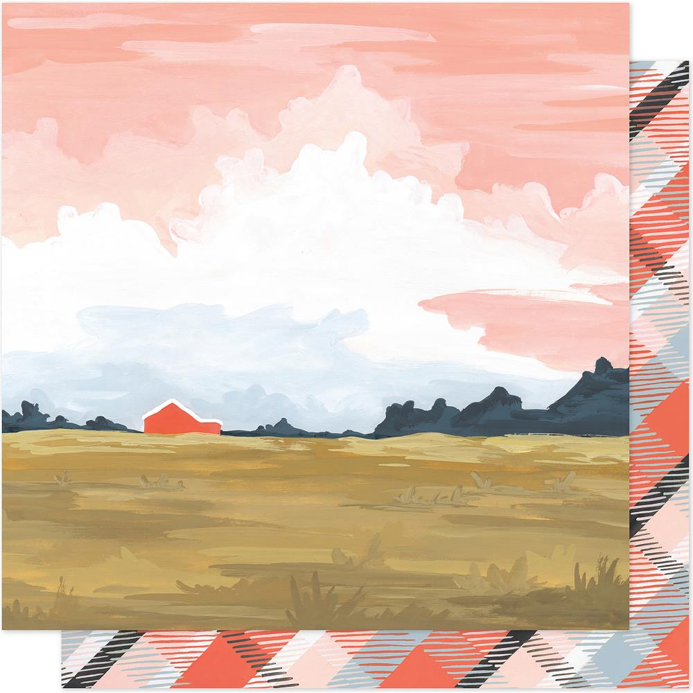 "American Crafts - One Canoe Two Twilight Double-Sided Cardstock 12""X12"" - Twilight Landscape"