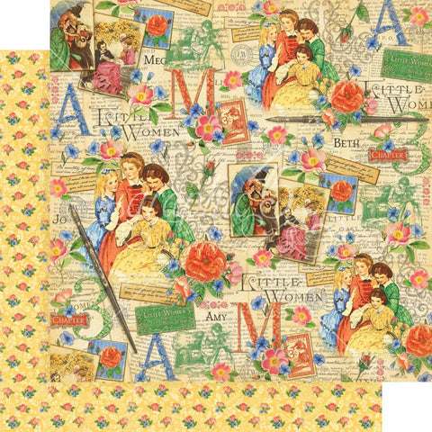 "Graphic 45 - Little Women Double-Sided Cardstock 12""X12"" - Sisterly Love"