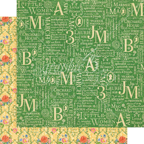 "Graphic 45 - Little Women Double-Sided Cardstock 12""X12"" - Orchard House"