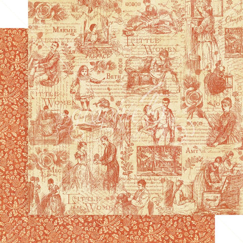"Graphic 45 - Little Women Double-Sided Cardstock 12""X12"" - Time To Cherish"