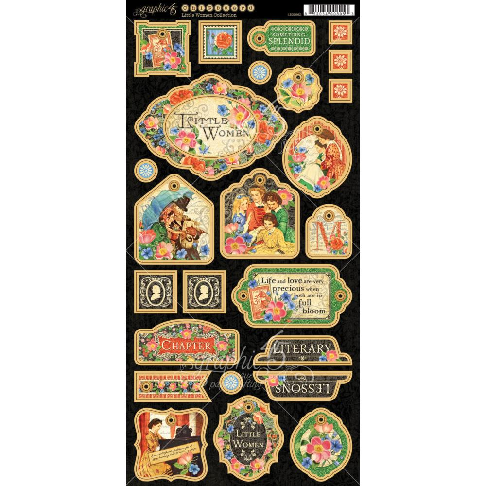 "Graphic 45 - Little Women Chipboard Die-Cuts 6""X12"" Sheet - Decorative & Journaling"