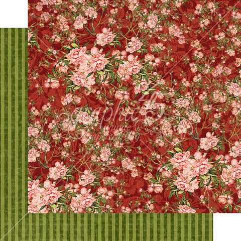 "Graphic 45 - Floral Shoppe Double-Sided Cardstock 12""X12"" - Burgundy Blossoms"