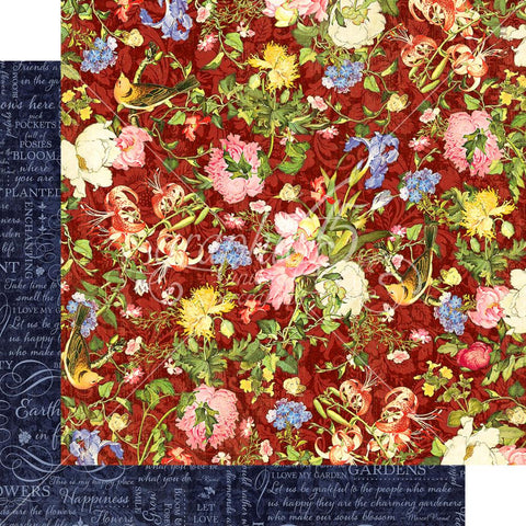 "Graphic 45 - Floral Shoppe Double-Sided Cardstock 12""X12"" - Scarlet Serenity"