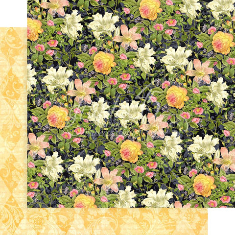 "Graphic 45 - Floral Shoppe Double-Sided Cardstock 12""X12"" - Indigo Lilies"