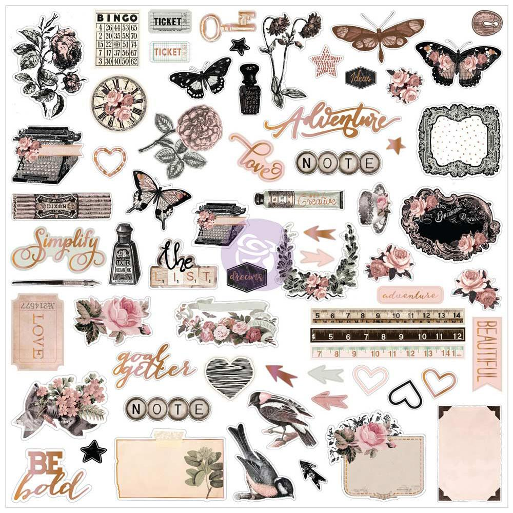 Prima Marketing - Amelia Rose Ephemera Cardstock Die-Cuts 66/Pkg - Time Travel W/Rose Gold Foil