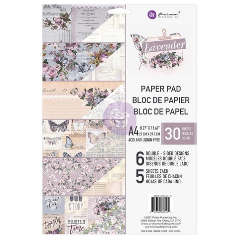 (pre order) Prima Marketing -  Prima Marketing Double-Sided Paper Pad A4 30/Pkg - Lavender, 6 Designs/5 Each