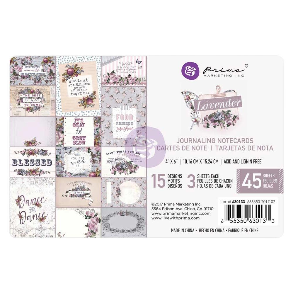 "Prima Marketing -Lavender Journaling Cards Pad 4""X6"" 45/Pkg = 15 Designs/3 Each"