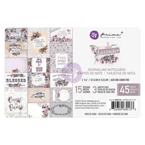 "(Pre Order)  Prima Marketing -Lavender Journaling Cards Pad 4""X6"" 45/Pkg = 15 Designs/3 Each"