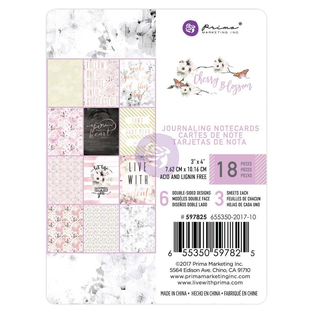 "Prima Marketing - Cherry Blossom Journaling Cards Pad 3""X4"" 45/Pkg - 15 Gold Foiled Designs/3 Each"