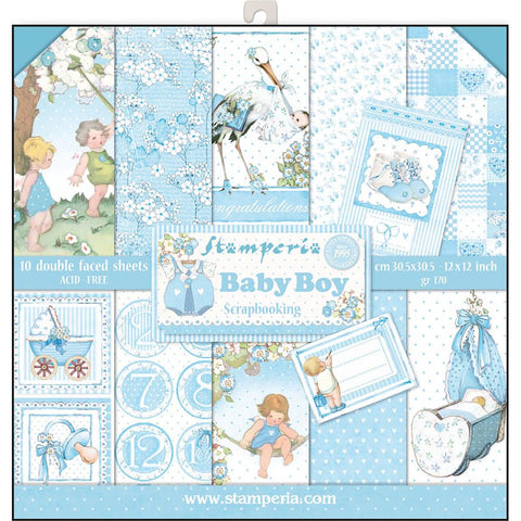 "(pre order) Stamperia - Double-Sided Paper Pad 12""X12"" 10/Pkg - Baby Boy"